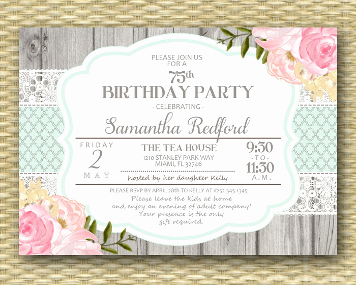 75th Birthday Invitation Wording New 75th Birthday Invitation Pink Floral Roses Peonies Rustic Lace