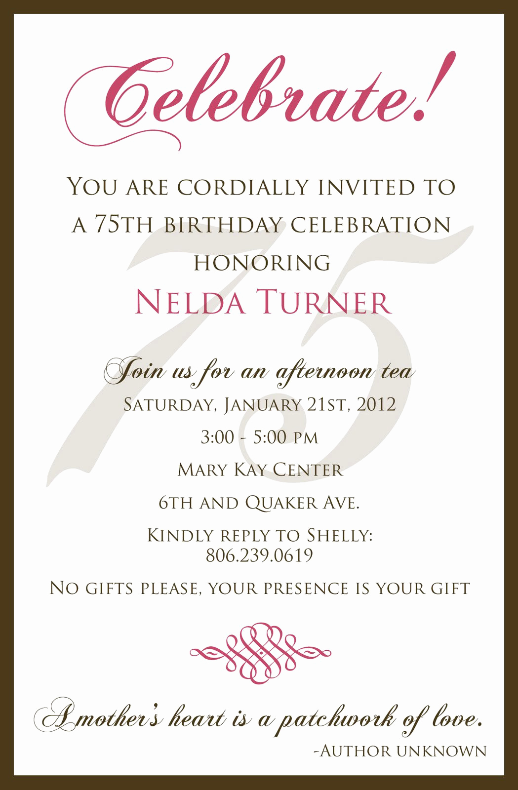 75th Birthday Invitation Wording Unique 75 Birthday Invitation