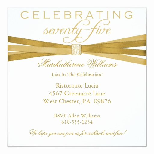 75th Birthday Invitation Wording Unique Elegant 75th Birthday Party Invitations
