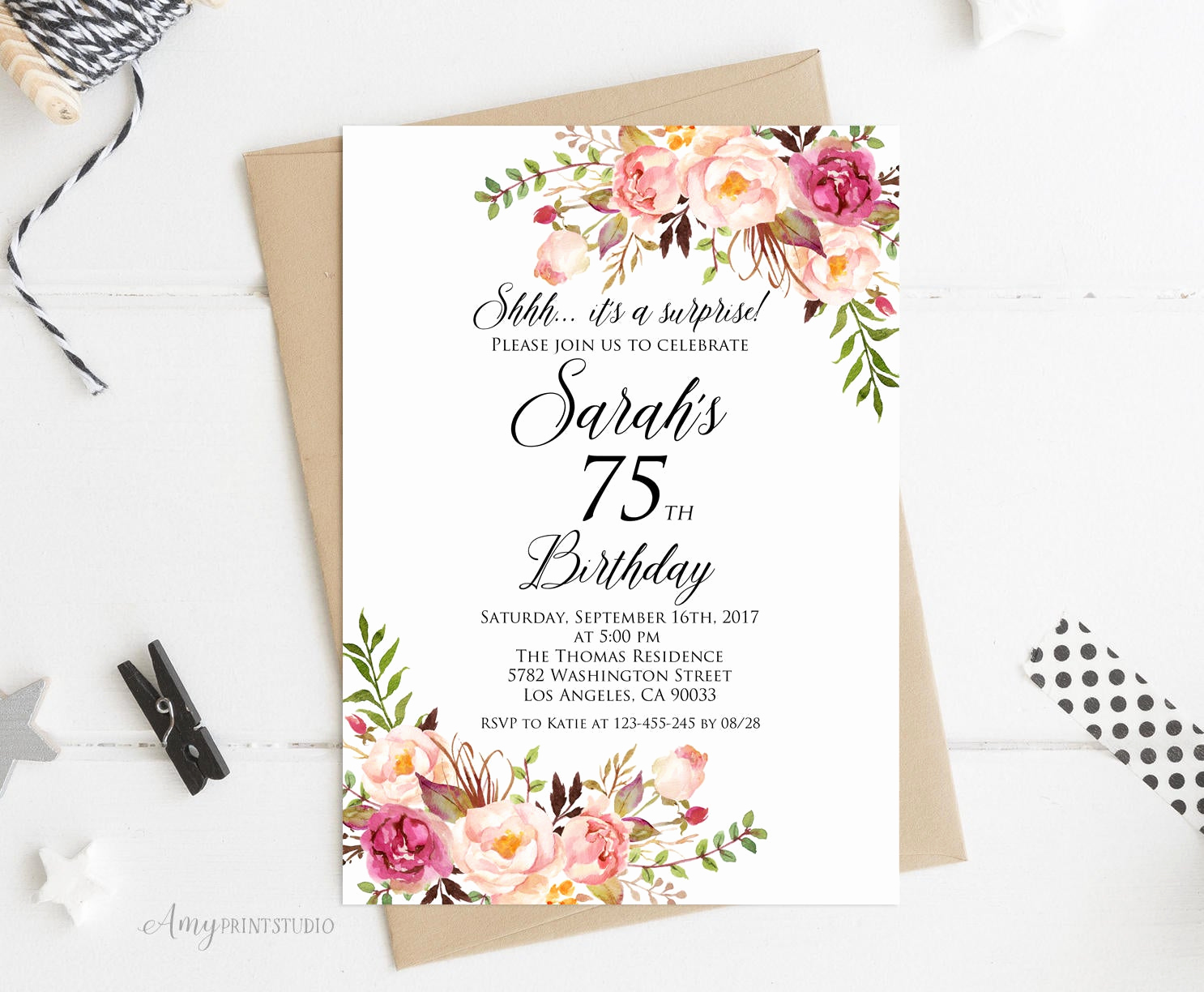 surprise 75th birthday invitation women