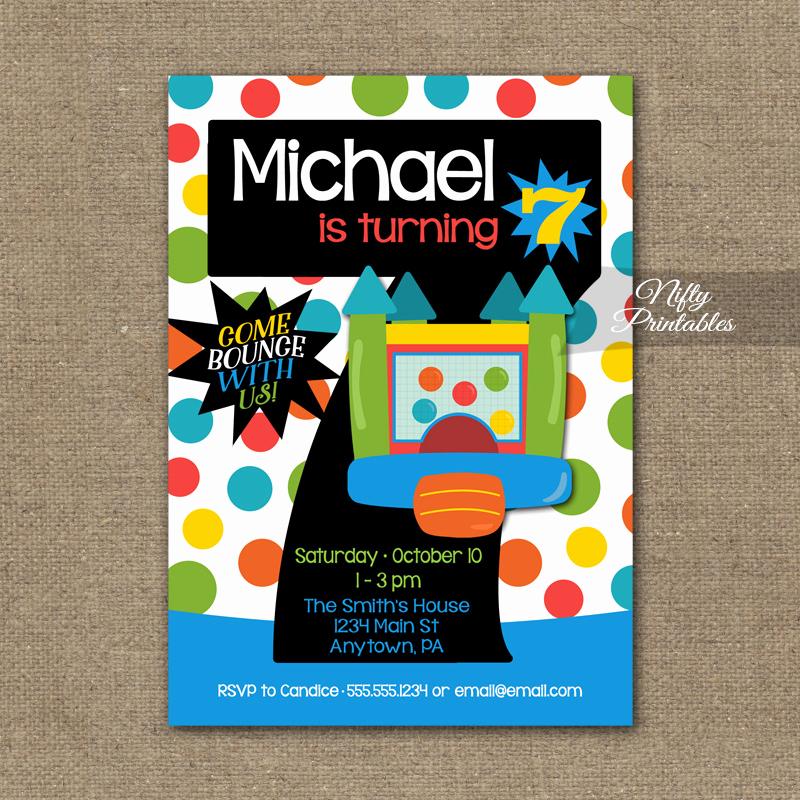 7th Birthday Invitation Wording Beautiful 7th Birthday Invitation Bounce House Invitations Nifty