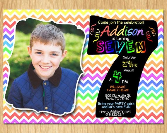 7th Birthday Invitation Wording Beautiful 7th Birthday Invitation Rainbow Chevron Pastel Seventh