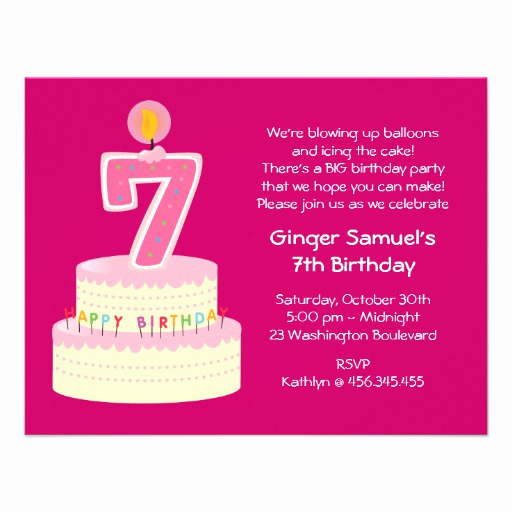 7th Birthday Invitation Wording Beautiful 7th Birthday Wishes Quotes Quotesgram