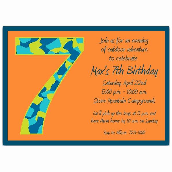 7th Birthday Invitation Wording Beautiful Birthday Boy Camo 7th Birthday Invitations