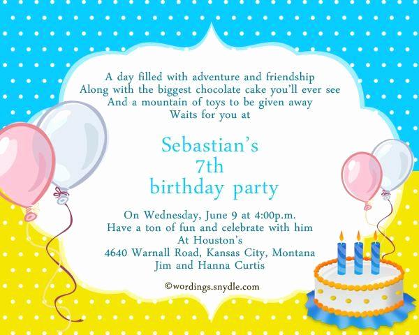 7th Birthday Invitation Wording Elegant 7th Birthday Invitation Wording A Birthday Cake