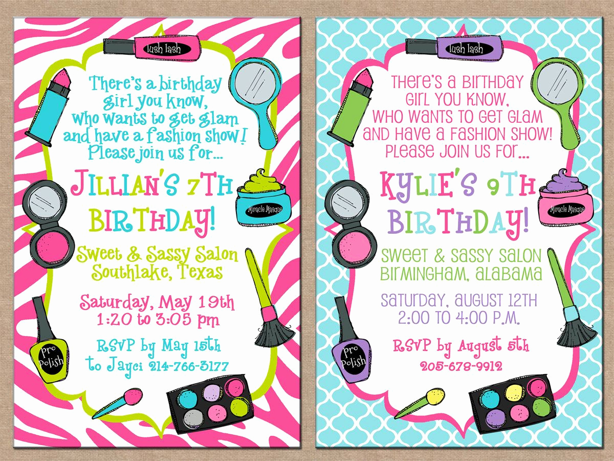 7th Birthday Invitation Wording Elegant Girl Makeup Make Up Salon Spa Fashion Show Makeover Hair