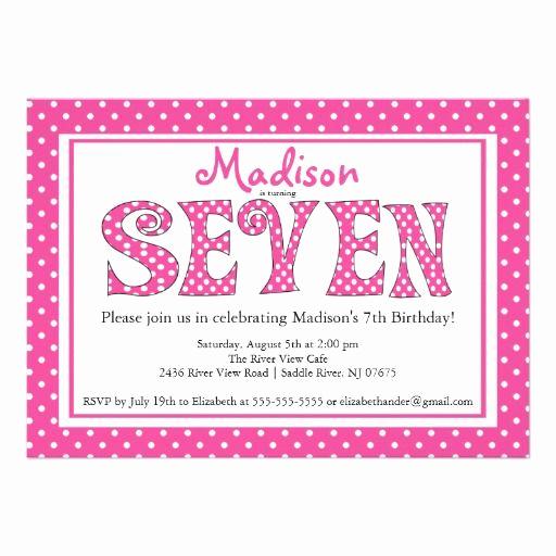 7th Birthday Invitation Wording Fresh Polka Dot Alphabet 7th Birthday Party Invitation