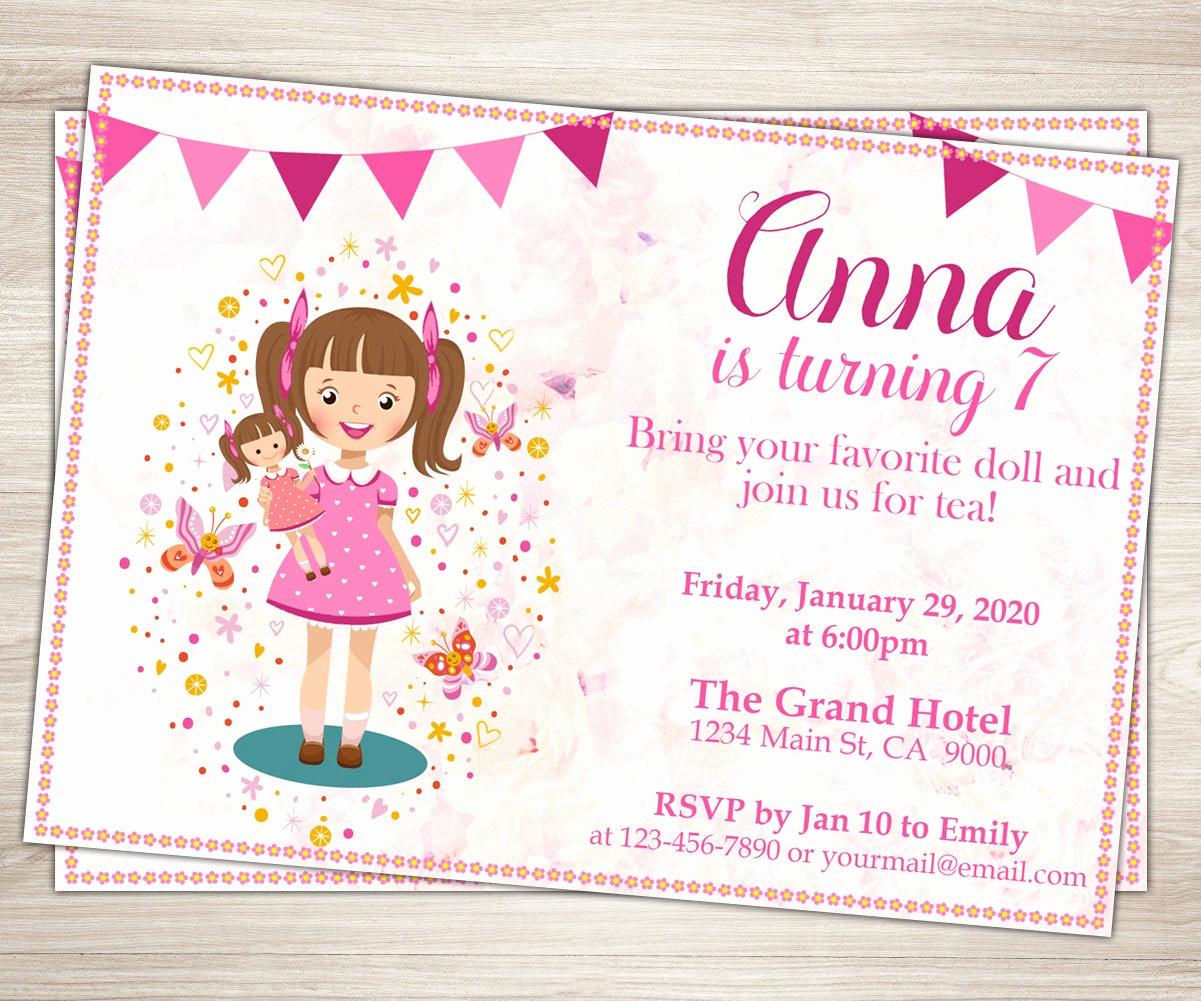 7th Birthday Invitation Wording Inspirational Baby Doll Party Invitation Doll Girl 7th Birthday Invitation