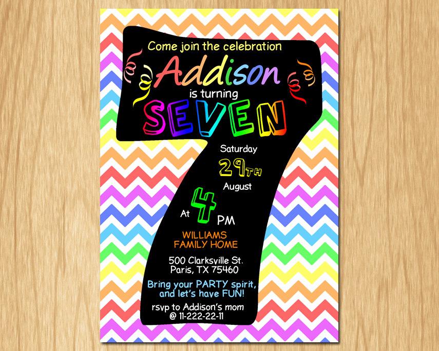 7th Birthday Invitation Wording Lovely 7th Birthday Invitation Rainbow Chevron Pastel Seventh
