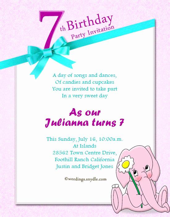 7th Birthday Invitation Wording Lovely 7th Birthday Invitation Wording Extravital Fasion