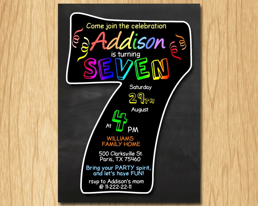 7th Birthday Invitation Wording Luxury 7th Birthday Invitation Chalkboard Invite Rainbow Colors
