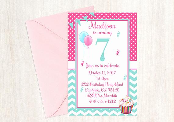 7th Birthday Invitation Wording Luxury 7th Birthday Seventh Birthday 7th Birthday Invite 7th