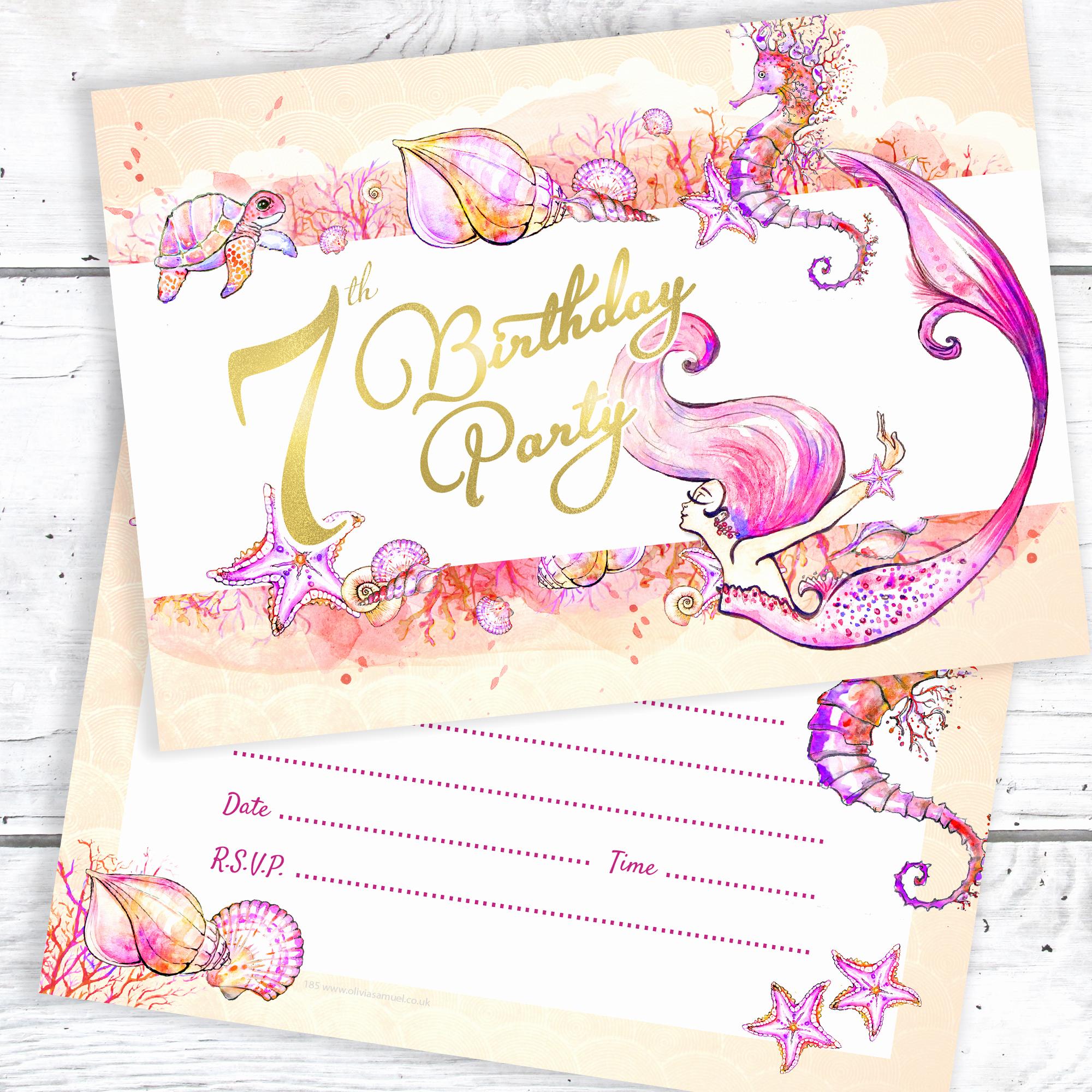 7th Birthday Invitation Wording New Mermaid 7th Birthday Party Invitations – Ready to Write