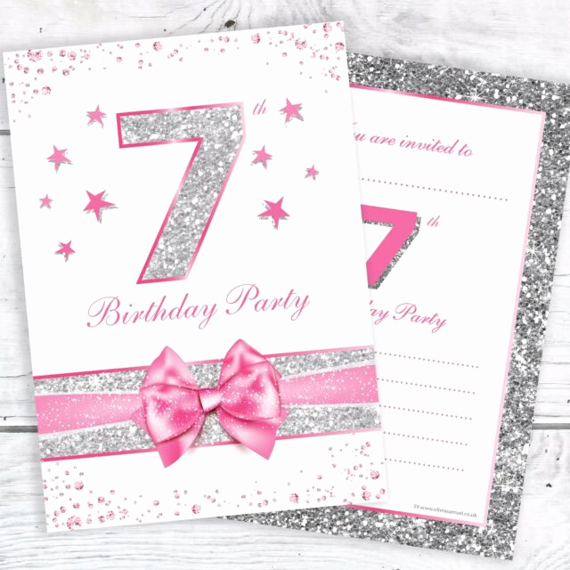 7th Birthday Invitation Wording Unique 7th Birthday Party Invitations Pink Sparkly Design and