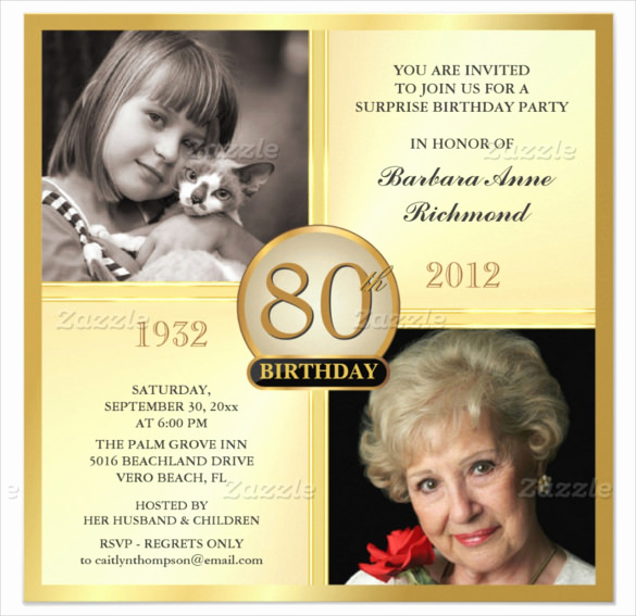 80th Birthday Invitation Templates Awesome 26 80th Birthday Invitation Templates – Free Sample