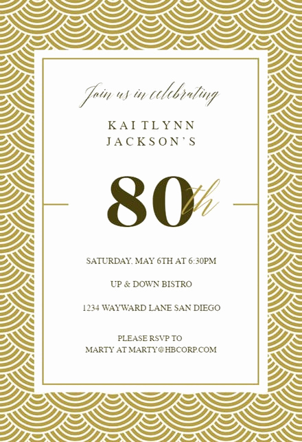 80th Birthday Invitation Templates Beautiful 80th Birthday Invitation Templates Free