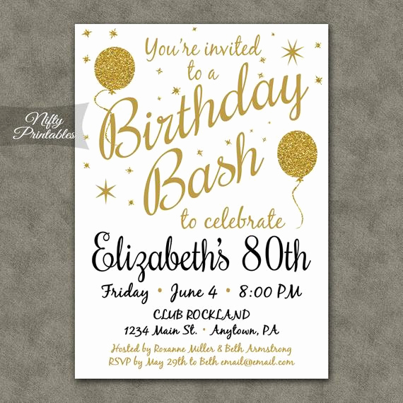 80th Birthday Invitation Templates Beautiful 80th Birthday Invitations Printable 80th Birthday Party