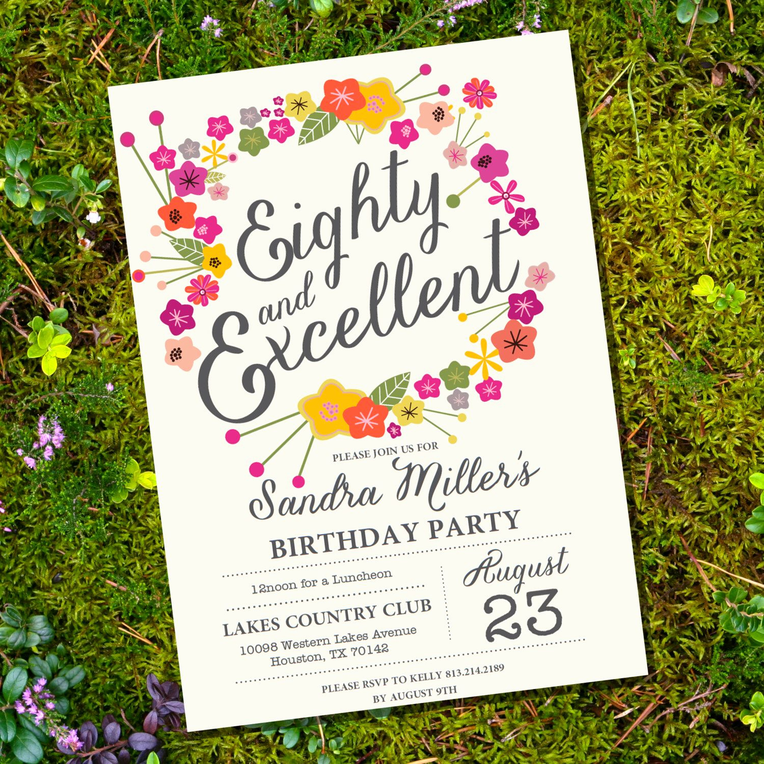 80th Birthday Invitation Templates Beautiful Floral Eightieth Birthday Invitation 80th Birthday
