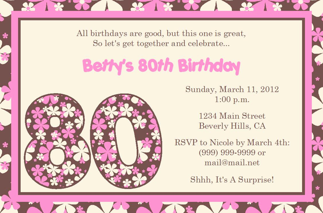 80th Birthday Invitation Templates Fresh Quotes for 80th Birthday Invitation Quotesgram