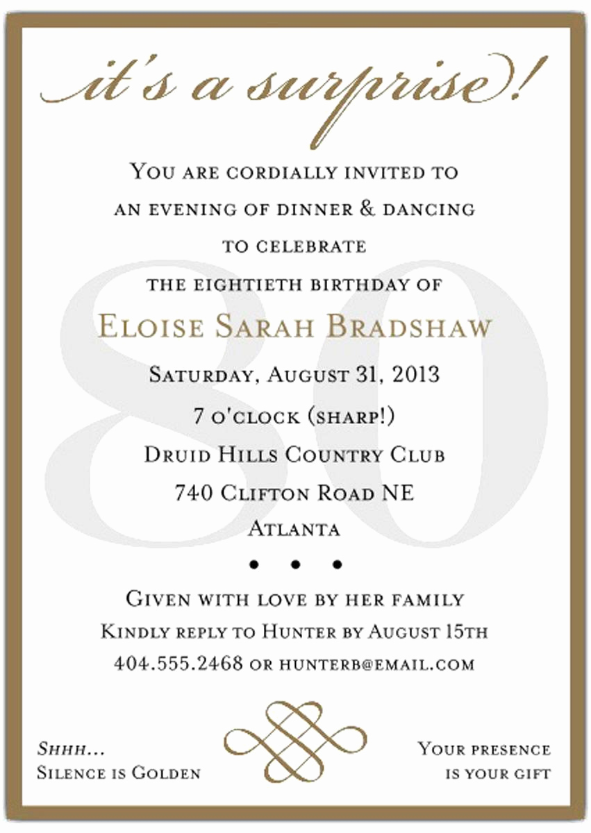 80th Birthday Invitation Templates Inspirational 10 Sample 80th Birthday Party Invitations