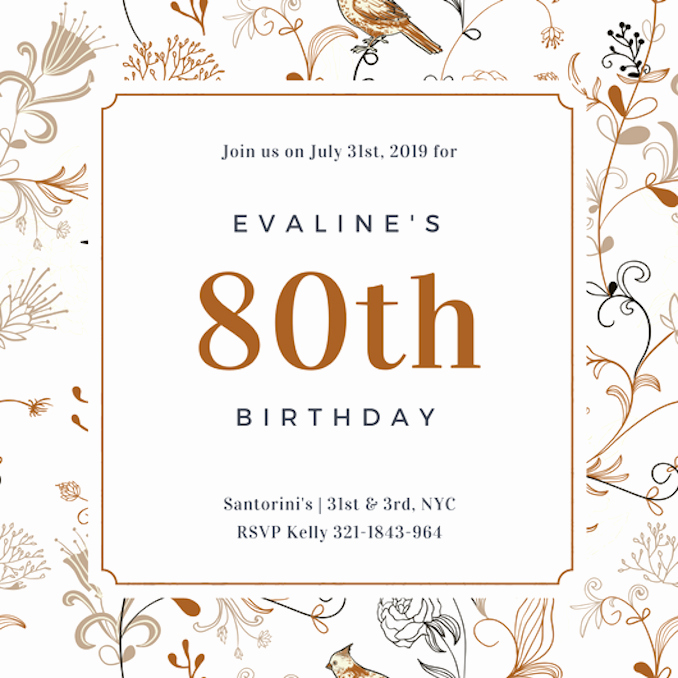 80th Birthday Invitation Templates Lovely Invitation Maker Design Your Own Custom Invitation Cards