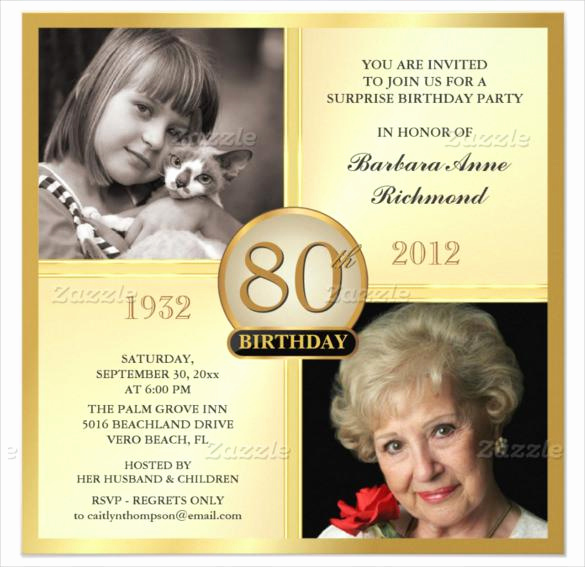 80th Birthday Invitation Templates Luxury 15 Sample 80th Birthday Invitations Templates Ideas