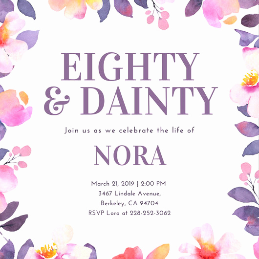 80th Birthday Invitation Templates Luxury Customize 985 80th Birthday Invitation Templates Online