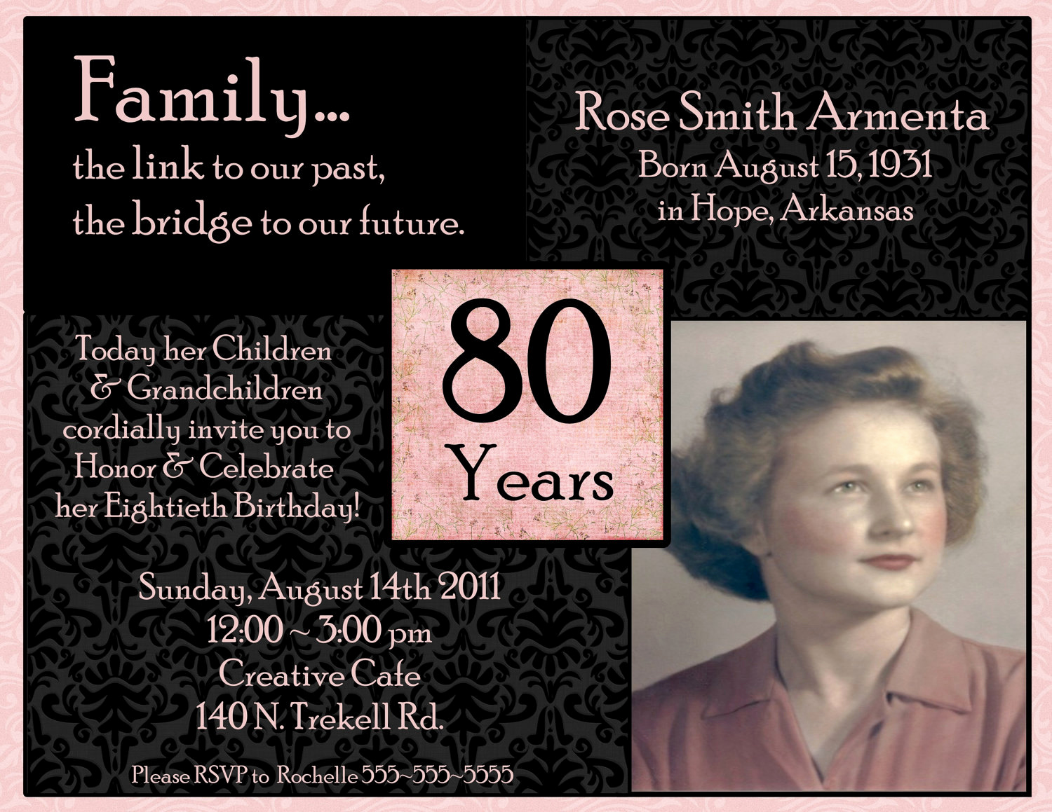 80th Birthday Invitation Templates New Invitations On Pinterest