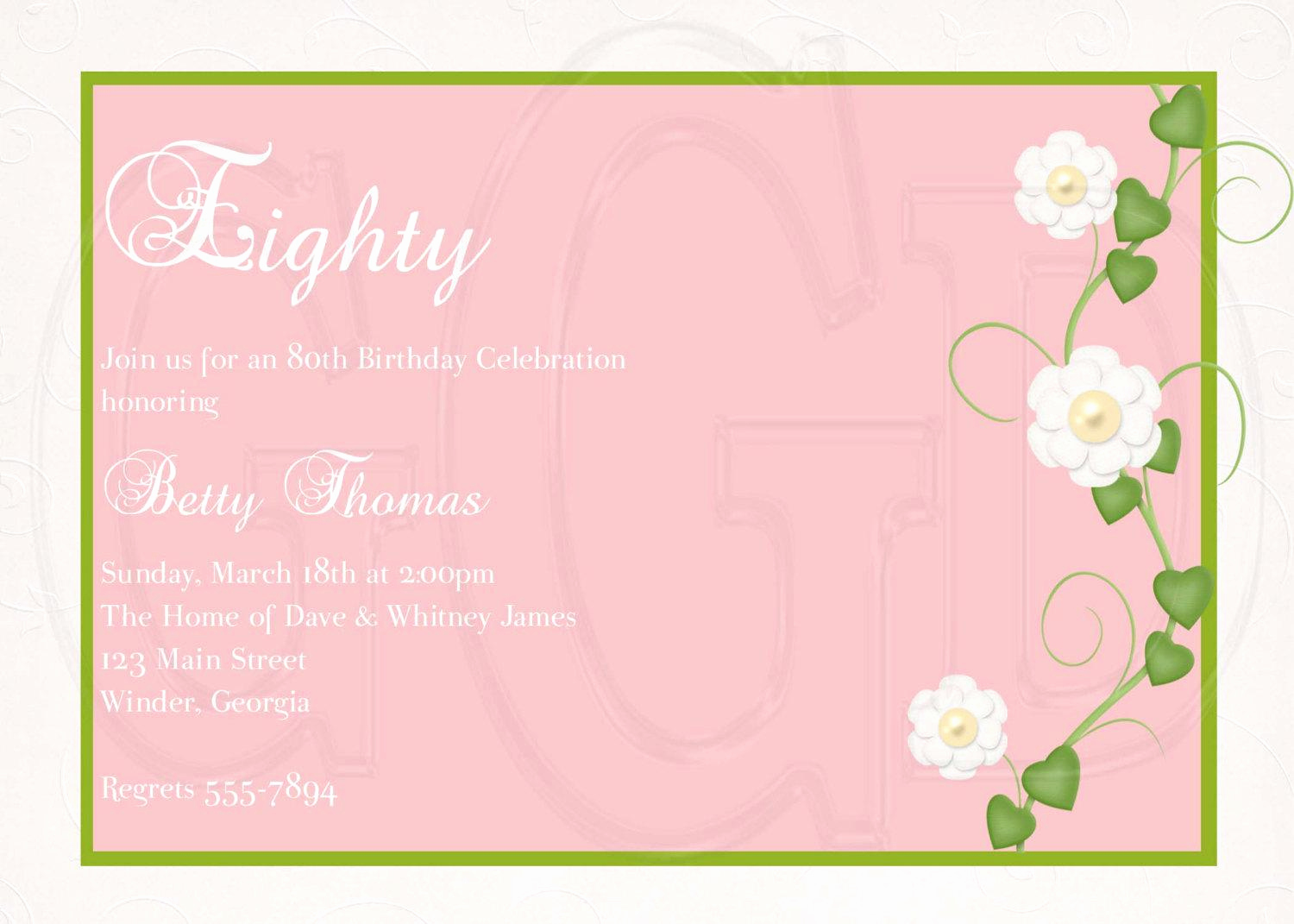80th Birthday Invitation Wording Awesome Free 80th Birthday Invitation Templates