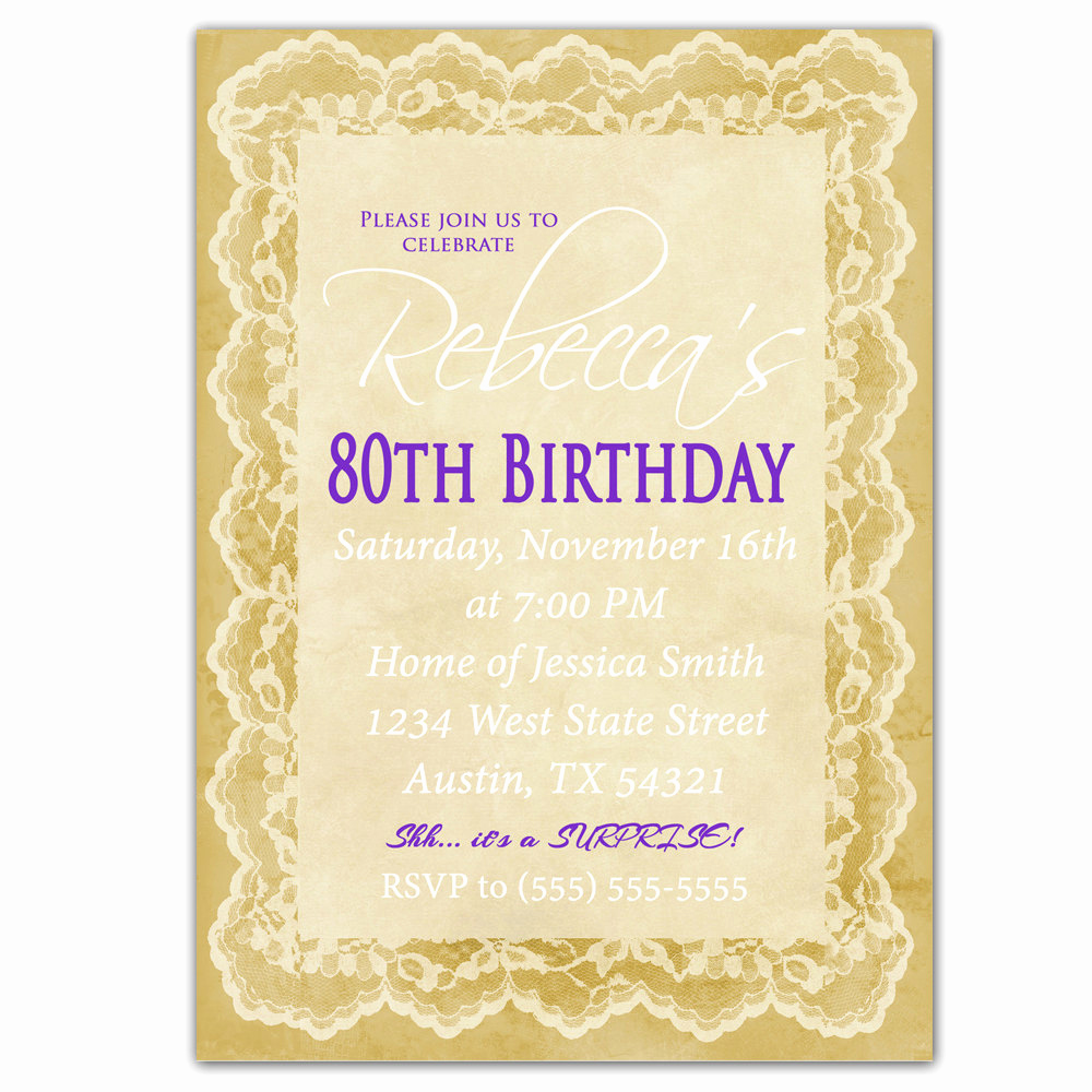 80th Birthday Invitation Wording Best Of 80th Birthday Invitation Surprise Party Invite by