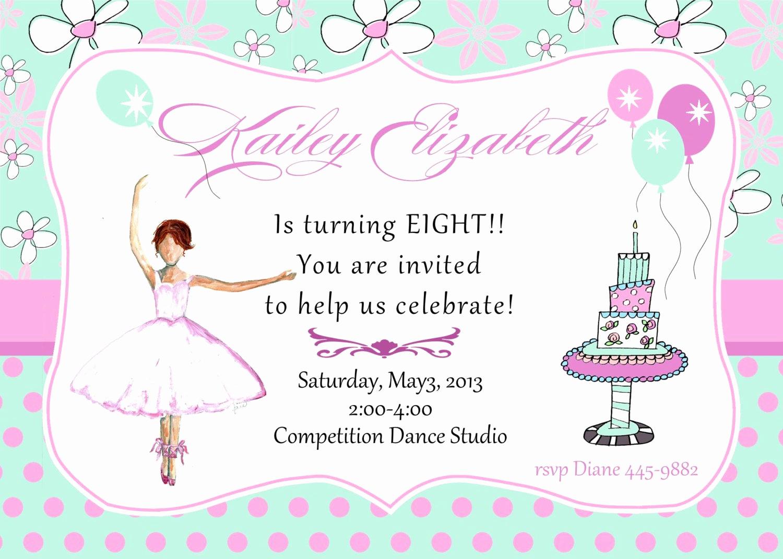 8th Birthday Invitation Wording Elegant 8th Birthday Party Invitation Ballet Birthday Party by