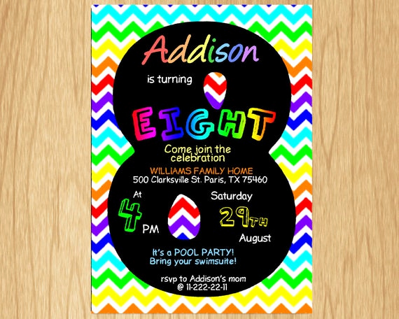 8th Birthday Invitation Wording Fresh 8th Birthday Invitation Rainbow Chevron Pastel Eight