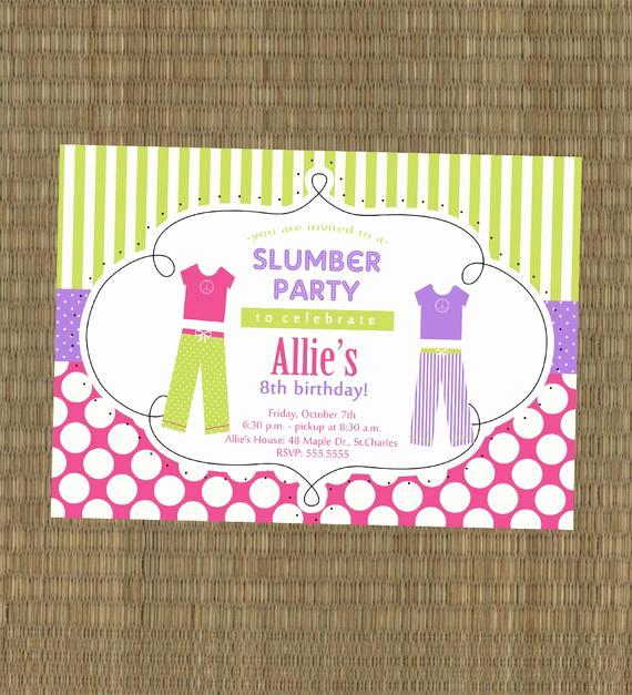 8th Birthday Invitation Wording Fresh Items Similar to Printable Slumber Party Invitation
