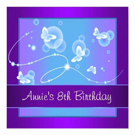 8th Birthday Invitation Wording Fresh Purple butterfly 8th Birthday Party Invitation 8th