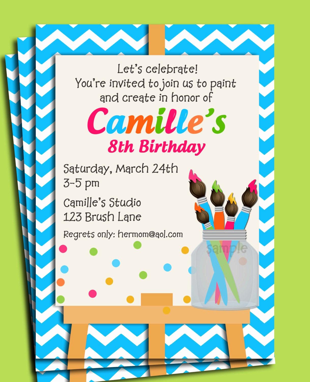 8th Birthday Invitation Wording New Painting Art Party Birthday Invitation Printable or Printed