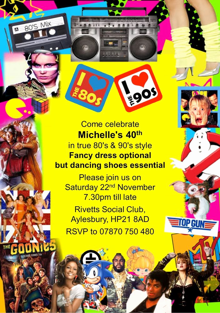 90s Party Invitation Wording Awesome 10 Personalised Fancy Dress Birthday Party Invitations 80s