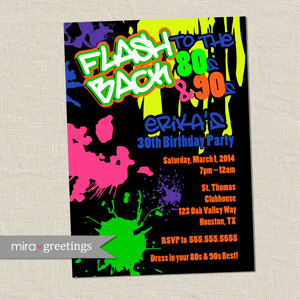 90s Party Invitation Wording Awesome 80s Birthday Party Invitations 90s Neon Party by Miragreetings
