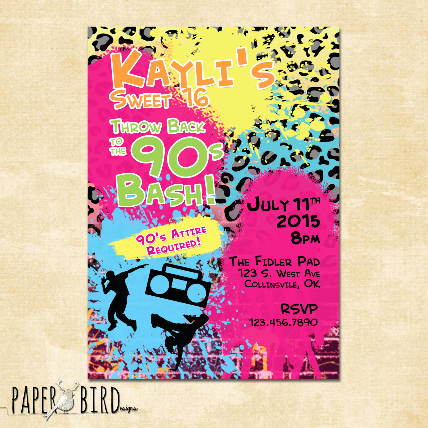 90s Party Invitation Wording Awesome 90s Throwback Birthday Invitation Custom Invite Printable