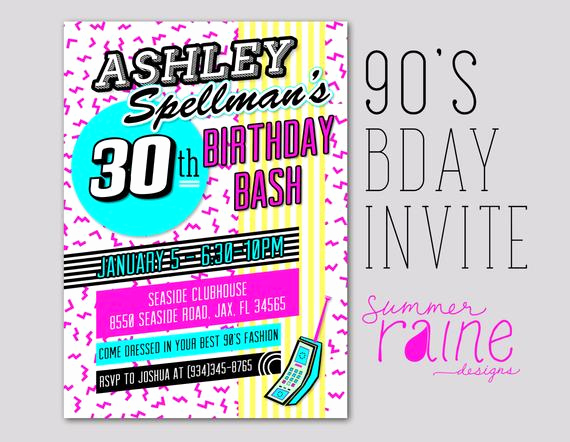 90s Party Invitation Wording Beautiful 90 S Invitation Printable Digital Birthday Party