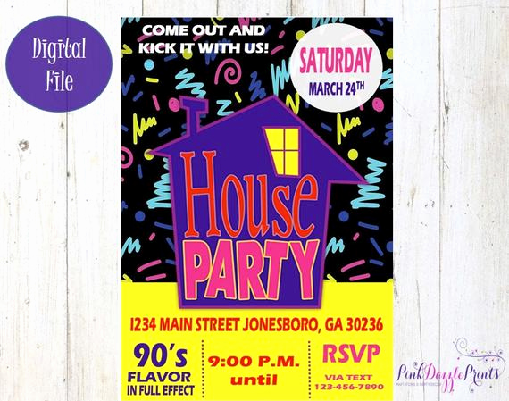 90s Party Invitation Wording Beautiful House Party Invitation 90 S Party Invitation Birthday