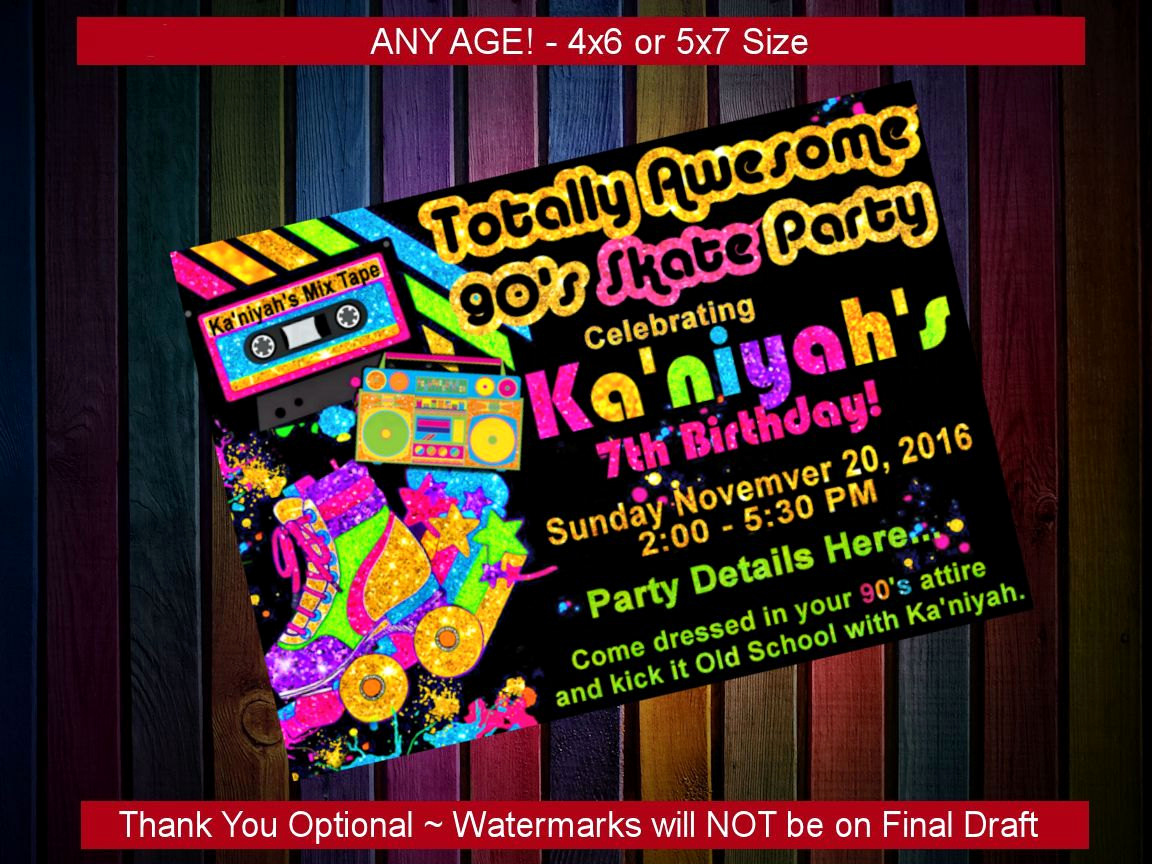 90s Party Invitation Wording Best Of Birthday Party Invitation 90s theme Party Custom Printable