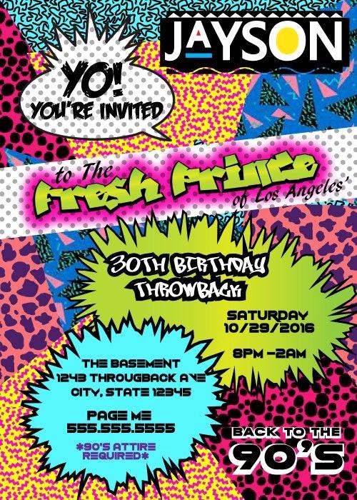 90s Party Invitation Wording Elegant 90 S theme Fresh Prince Princess Hip Hop Digital