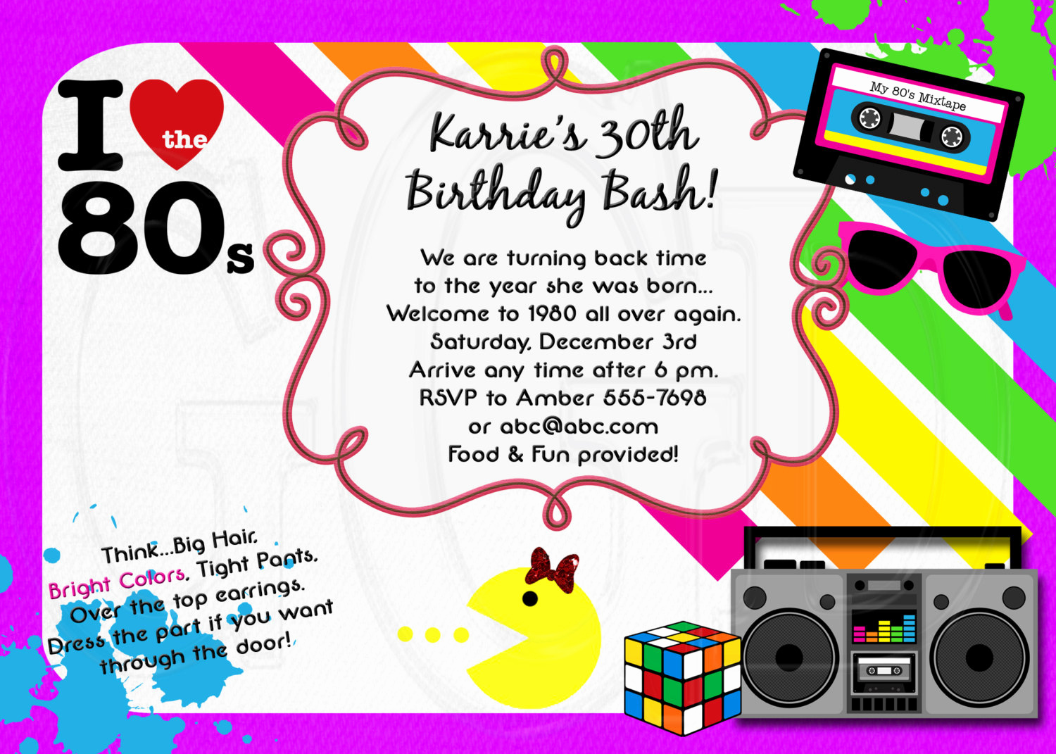 90s Party Invitation Wording Fresh 1980 S Invitation 80 S theme Party Bachelorette