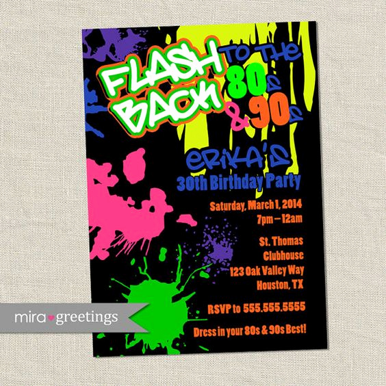 90s Party Invitation Wording Fresh 80s Birthday Party Invitations 90s Neon Party by