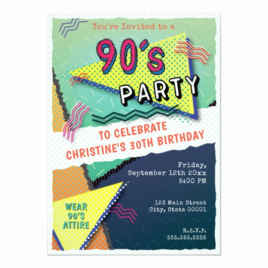 90s Party Invitation Wording Fresh 90 S Party theme Pattern Invitation