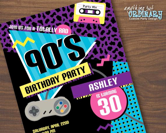 90s Party Invitation Wording Inspirational 90s Birthday Party Invitation 1990s Flashback Party Invites