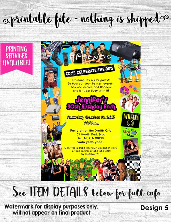 90s Party Invitation Wording Inspirational 90s Party Invitation Printable 90s Birthday Party Invitation