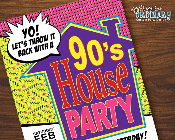 90s Party Invitation Wording Luxury 90s House Party Invitation Girl S House Party Birthday
