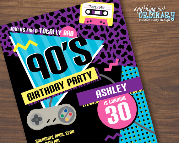 90s Party Invitation Wording New 90s Birthday Party Invitation 1990s Flashback Party