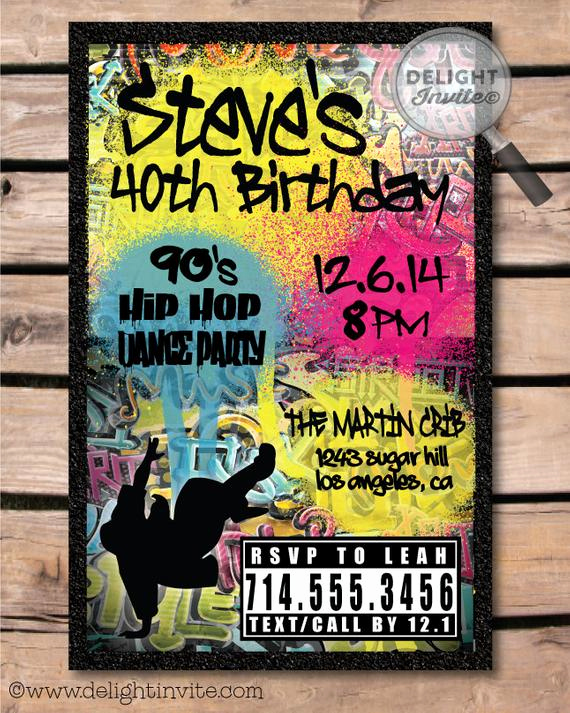 90s Party Invitation Wording Unique 80 S 90 S Hip Hop Graffiti Birthday Invitations by